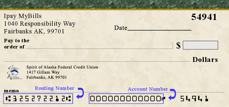 Demonstration of account and routing numbers on a check