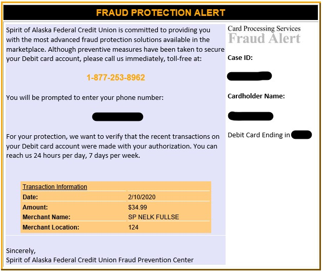 Example of Spirit of Alaska Fraud Alert Email
